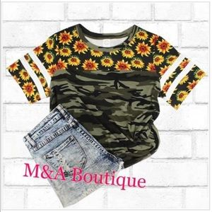 Cute camouflage tee with sunflowers